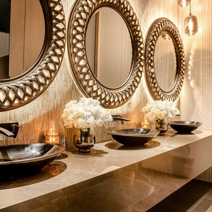 Vitally important to any big event - gorgeous bathrooms!  #whitenightreceptions #interiordesign