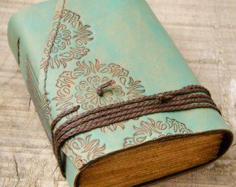 Бирюзовый кожаный журнал, Handbound журнал, кожаный дневник, тетради