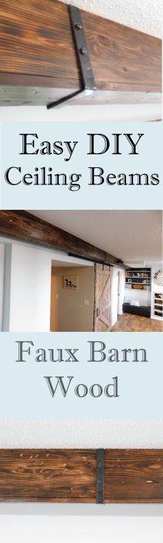 Get the barn wood look for a fraction of the price and effort. Learn how to install these hollow faux beams, and find more DIY's at LeahandJoe.com
