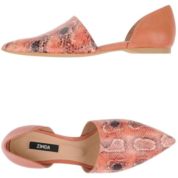 Zinda Ballet Flats ($106) ❤ liked on Polyvore featuring shoes, flats, orange, snakeskin ballet flats, orange ballet flats, orange flats, orange flat shoes and leather flats