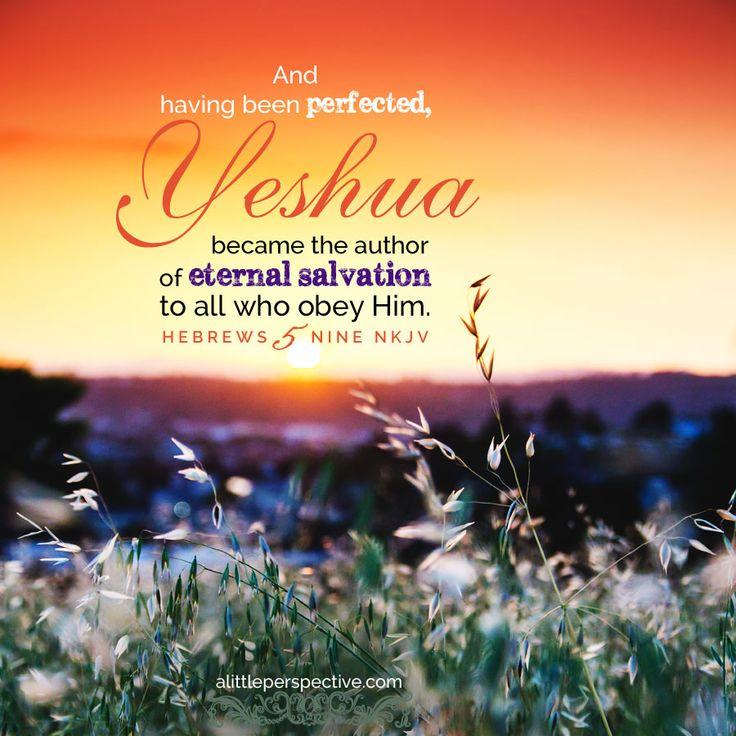 And, having been perfected, Yeshua became the author of eternal salvation to all who obey Him. Hebrews 5:9   #ScripturePictures at #ALittlePerspective.com  http://www.alittleperspective.com/welcome-to-scripture-pictures/