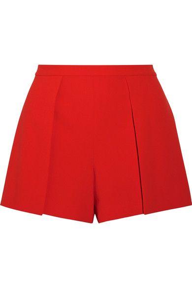 Alice Olivia - Larissa Draped Crepe Shorts - Red - US0