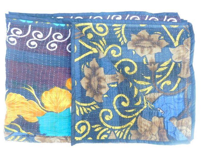 Indian Floral Bedspread Blanket Patchwork Kantha Quilt Throw Ralli Gudari GA25 #Handmade #AsianOriental