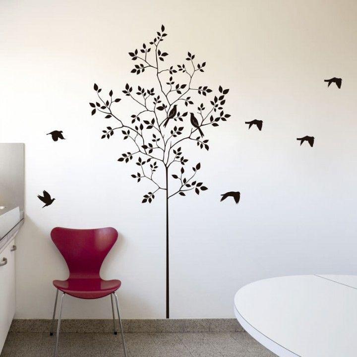 Adesivo de Parede Árvore e Pássaros Natureza - R$65