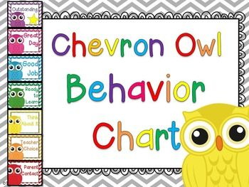 Behavior Chart Owl and Chevron7 levels of behavior tracking for a owl and chevron classroom-Outstanding-Great Day-Good Job-Ready to Learn-Think About It-Teacher Choice-Parent ContactConnect these levels together vertically, use clothespins for behavior levels. **Please note that this behavior chart is also INCLUDED in the chevron and owl classroom decor pack that is sold in my store.**Included: owls to hot-glue onto the ends of ClothespinsParent Letter includedBehavior Recording Sheet…