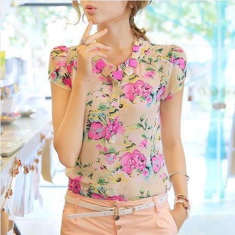 Venda quente blusa nova fresco sopro verão flores luva imprimir Chiffon camisa manga curta blusa mulheres verão 2014 M ~ XXL