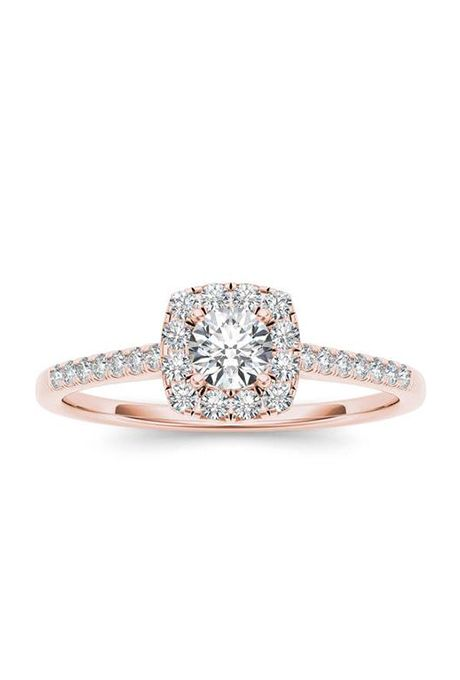 Brides: In Love by BRIDES Rose Gold Cushion Halo Engagement Ring. 3/8 carat cushion-cut diamond 14K pink gold engagement ring with halo, $798, In Love by BRIDES available at Walmart