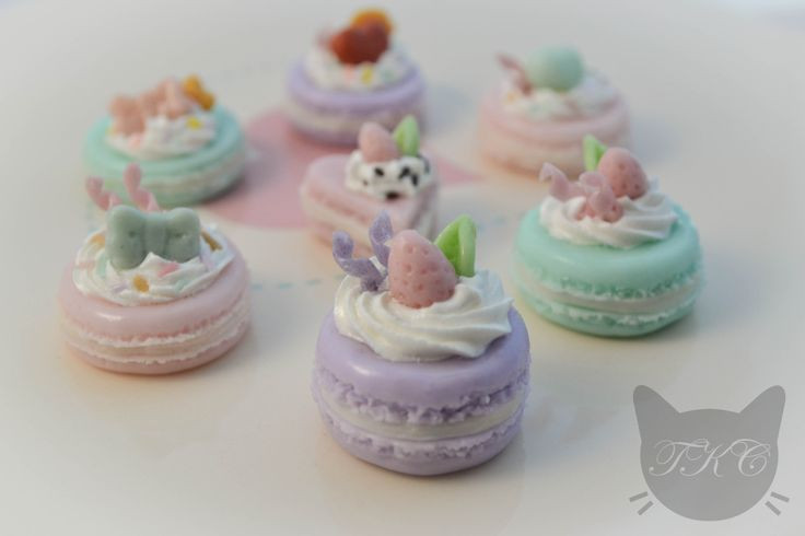Handmade mini pastel macaroon charms for necklaces made from cold porcelain clay. Available for purchase soon.