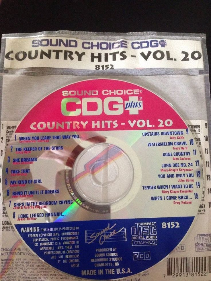 Sound Choice CDG Laser Disc Karaoke #8152 Country Hits Volume #20 #SoundChoice