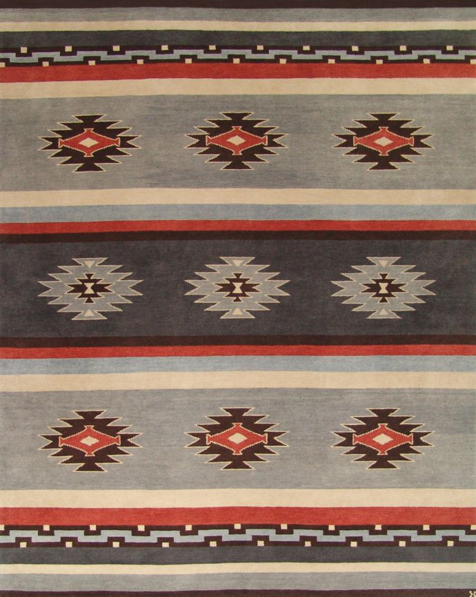 LW43B, grey blue/russet – Southwestern rugs, Luxury Lodge comes to life in this imaginative collection. Traditions of the past meet modern needs for quality, beauty and comfort in these unique and timeless designs inspired by Native American motifs from the American Southwest. Soft pile weave replaces the traditional flat weave of typical Navajo-inspired carpets, resulting in luxuriously soft, superior quality hand-woven rugs.