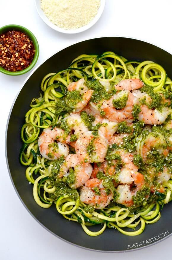 Pesto Zucchini Noodles with Shrimp