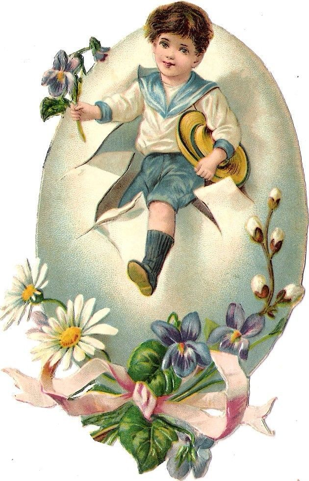 Oblaten Glanzbild scrap die cut chromo Ostern easter  Kind child Ei egg