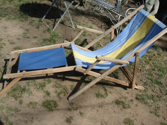 Clearance Sale French Antique Beach Chair Old Wood Canvas