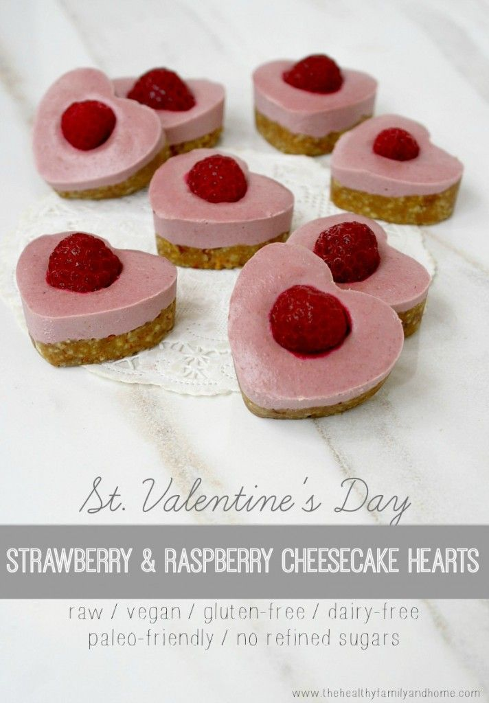 Strawberry and Raspberry Cheesecake Hearts...raw, vegan, gluten-free, dairy-free, paleo-friendly, no bake and no refined sugars. Enjoy!