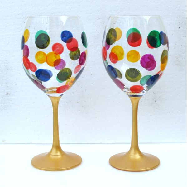 Superior Wine Glass Painting | Set Of Spotty Dotty Crystal Wine Glasses Hand Painted  Crystal, Gift