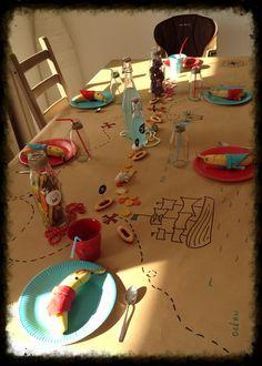 Piraten-Party Schatzkarten-Tischdecke aus Packpapier Schöne umweltfreundliche Alternative zur Plastik-Tischdecke ;o)