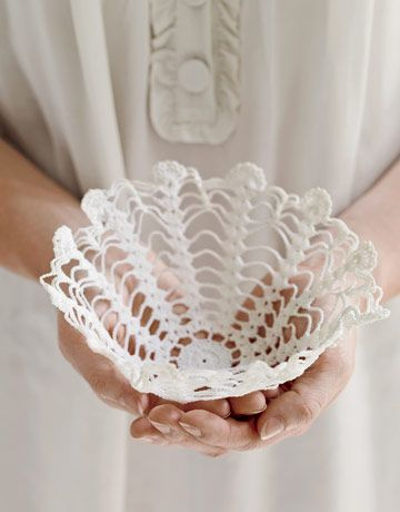 Starched Doily Basket    To shape a basket, soak a doily in liquid starch, squeeze out excess, and place doily over an inverted glass bowl covered in waxed paper. Dry one to three days, depending on humidity.