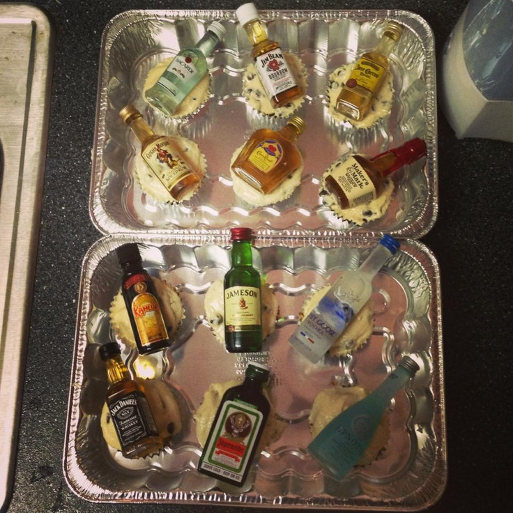 Great 21st Birthday idea! Cupcakes and alcohol!