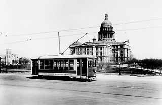 Photo courtesy of Austin History Center, Austin  Public Library ~ The first streetcars, pulled by teams of two or three mules, began running in January 1875, when Austin's population was only about 7,500. The mules ruled the rails until they were supplanted by Shipe's electric cars. But the mule-drawn cars had problems, too. On its inaugural journey, the first mule-drawn car -- operated by the Austin City Railroad Company, which was owned by John M. Swisher, a banker, came off the tracks and…