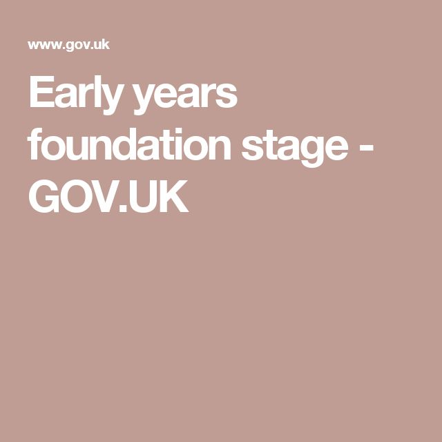 Early years foundation stage - GOV.UK