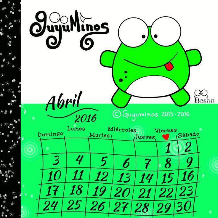 Disfruta del Mes día a día! :D #mes#abril#calendario#guyuminos #rana
