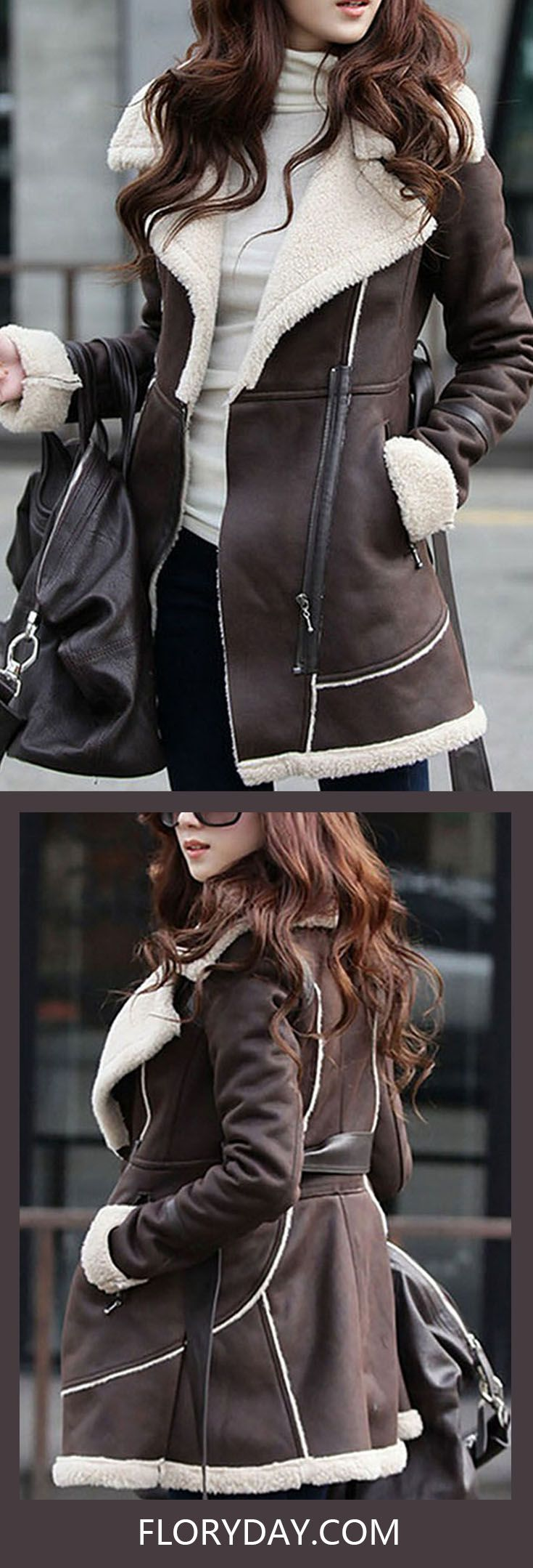 Leather jacket zippay - Leather Faux Leather Brown Short Long Sleeve Collar Coats Jackets