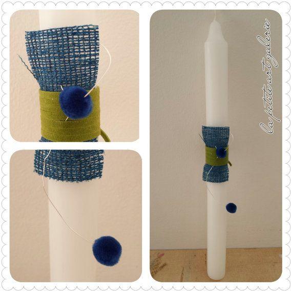 Blue Pompons -Greek Easter Candle