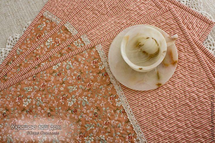 """Купить """"Персиковый цвет"""" Набор из 4х салфеток Красивые подарки - салфетки для сервировки, салфетки на стол"""