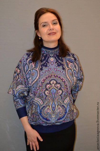 """Блуза из платка """"Испанский"""" в синем. - орнамент,ручная работа,одежда из платков"""