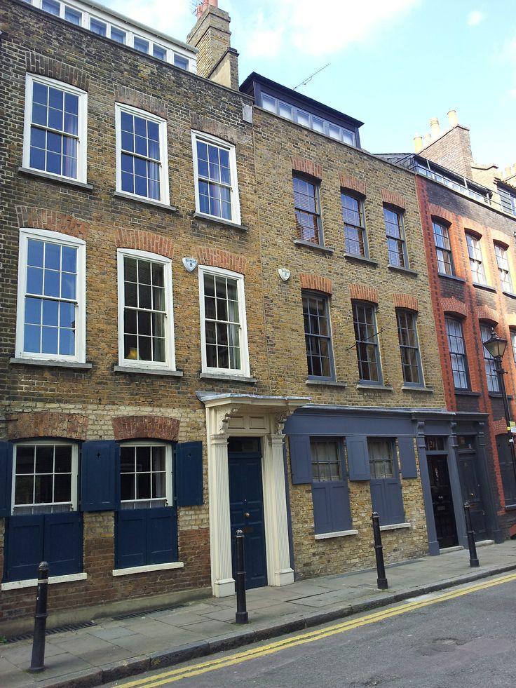 Huguenot silk weavers' houses in Fournier Street, Spitalfields from www.atthepinkhouse.tumblr.com
