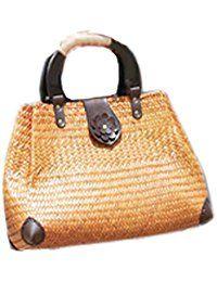 bordado hecho a mano de punto / tejido bolso / taleguilla de paja de la rota de bambú