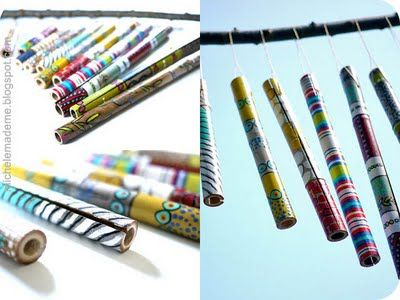 so pretty - painted bamboo windchimes.  the hardest part is cutting the bamboo but you can do that with a handsaw