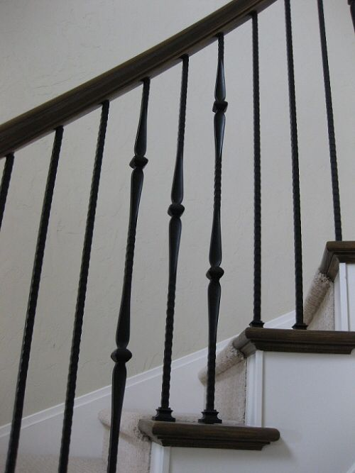 Black Railing, Black Stairs, Iron Stair Railing, Stair Risers, Iron  Balusters, Staircase Remodel, Traditional Staircase, Different Styles, Knot