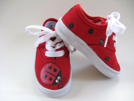 Shoes Ladybug Girls Red Black Canvas Tie by boygirlboygirldesign, $24.00 or can I do this on my own??