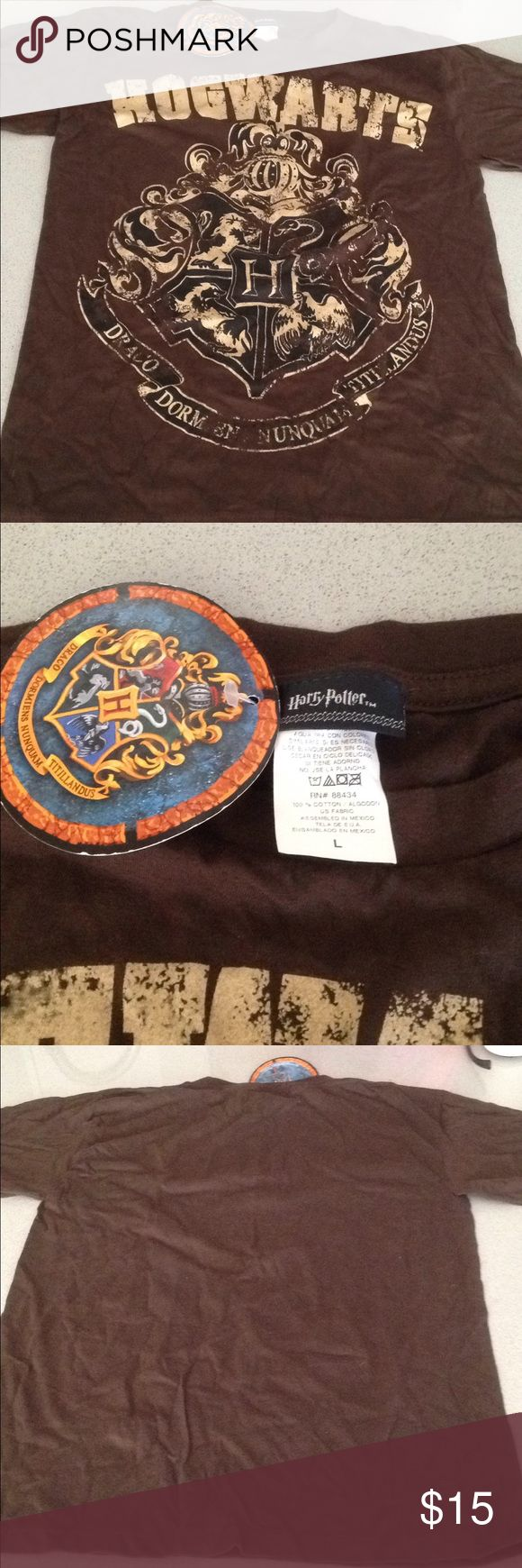 NWT Harry Potter Hogwarts shirt! Youth L/Wm S Perfect for the Harry Potter fan! This brown Hogwarts shirt still has the tag on it!  It is a youth large but could fit a small in women's.  Stored in a smoke free home! Tops Tees - Short Sleeve
