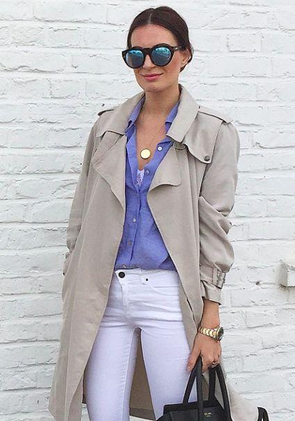 Blogger Style | Lena Terlutter: beige trenchcoat x button-down shirt x white skinny jeans x céline phantom bag