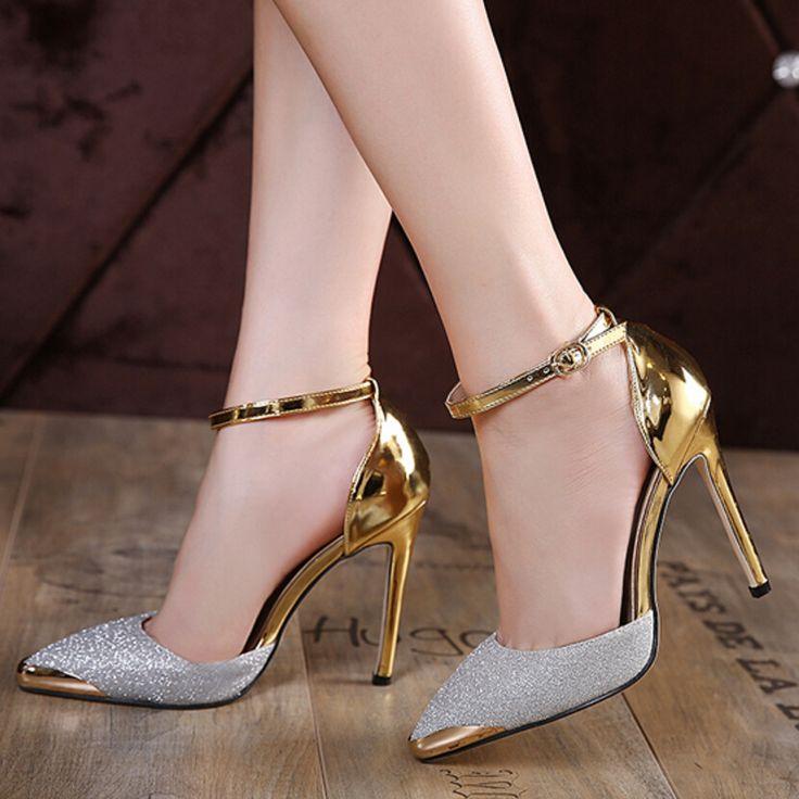 Новые моды женщина супер тонкий высокий каблук пу кожа острым носом туфли на каблуках сандалии обувь Золотые и серебряные высокие каблуки