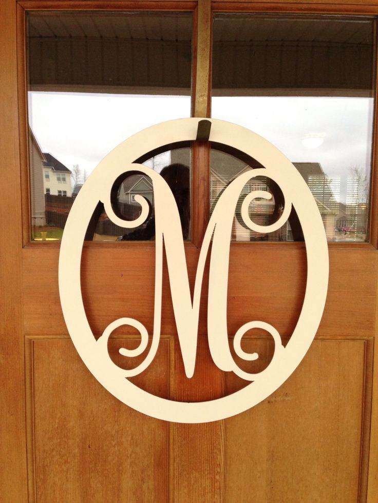 Front door monogram letters monogrammed metal wreath for Monogram homes