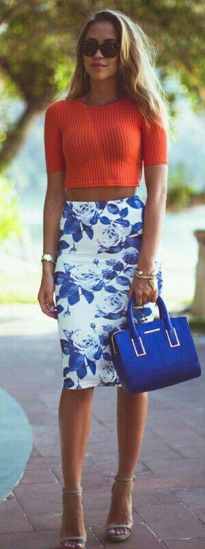 Blue, white & orange.