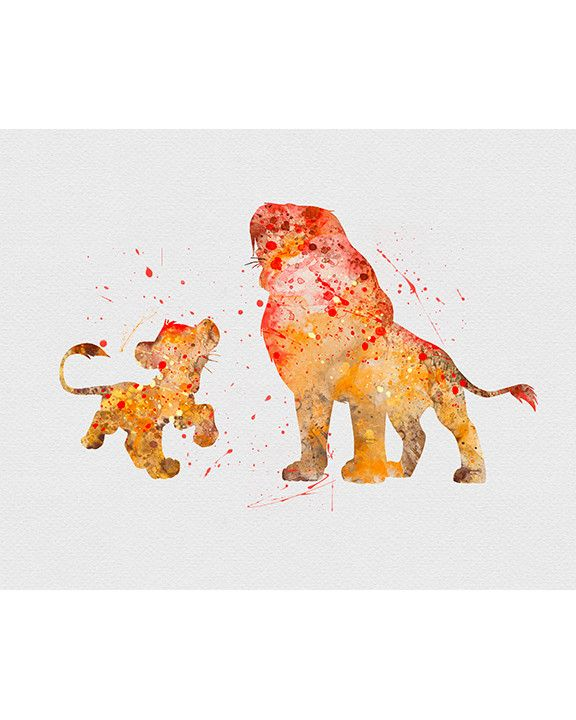 Lion King Simba & Mufasa Watercolor Art