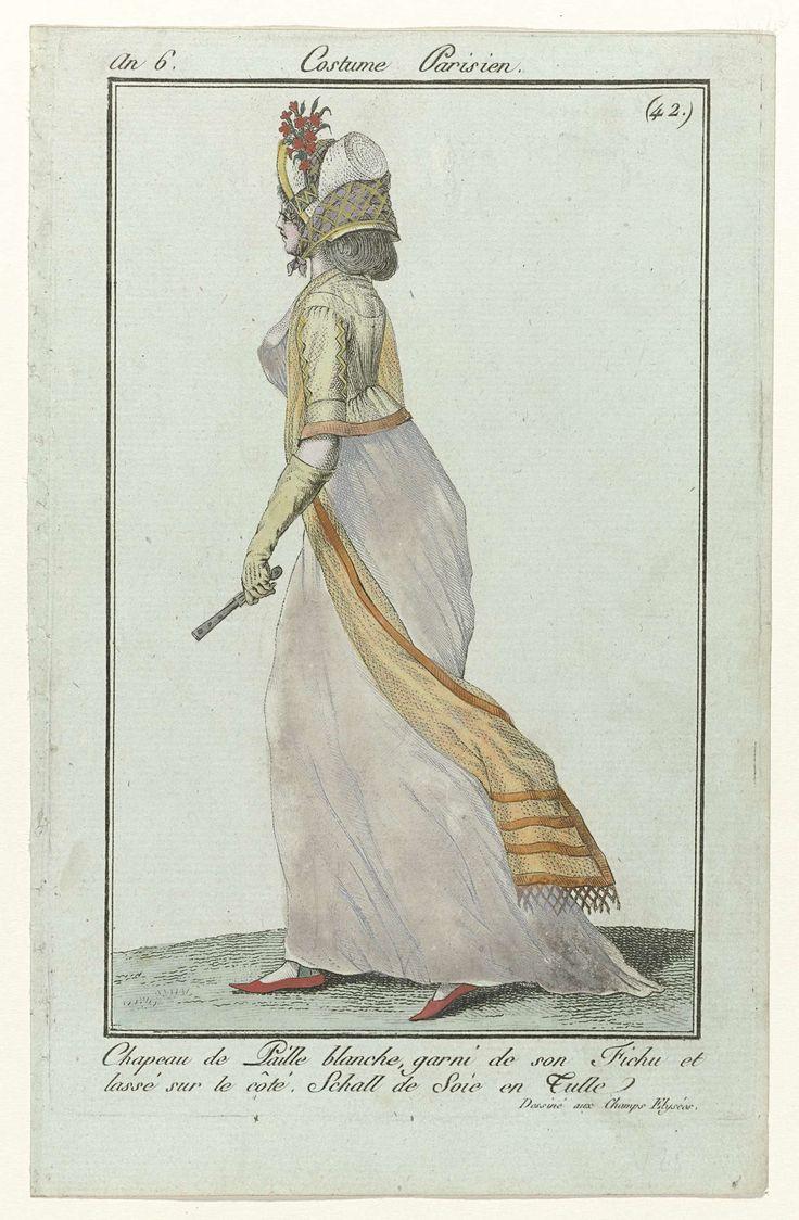Journal des Dames et des Modes, Costume Parisien, 8 juin 1798, An 6 (42) : Chapeau de Paille..., Anonymous, Sellèque, Pierre de la Mésangère, 1798