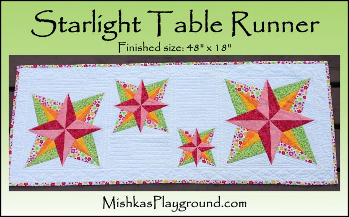 Starlight Table Runner - free table runner pattern http://mishkasplayground.com/quilt-patterns/starlight/table-runner/