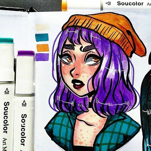 Sorry guys for no posting these days, yesterday i tried the new markers i got and they are pretty good a little hard to blend but they work for me (i really like beanies as you can see) #sketch #drawing #doodle #sketchbook #markers #soucolormarkers