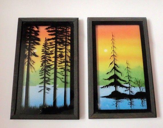Reverse painted glass art. So retro.