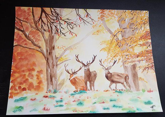 Autumn Forest Original Artwork A3 Deer In Forest Watercolor