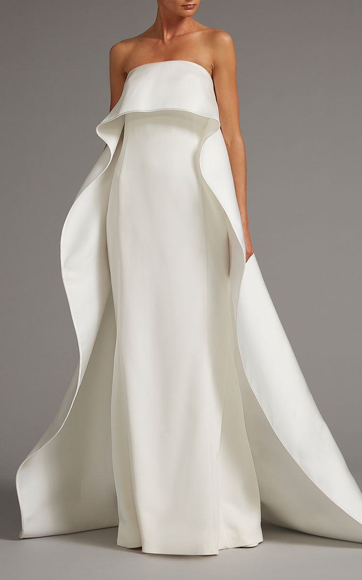 Strapless Gown with Overcape by Elizabeth Kennedy | Moda Operandi