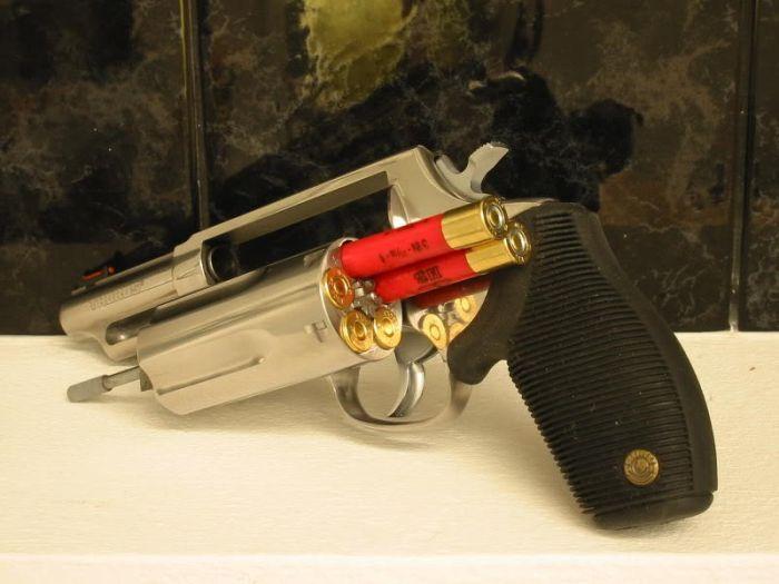 Why a handgun that shoots shotgun shells... Because wrong house motherfucker.  Taurus Judge. Shotgun pistol!