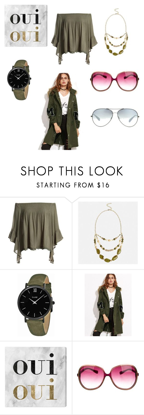 """""""Olive"""" by audjvoss ❤ liked on Polyvore featuring Sans Souci, Avenue, CLUSE, Oliver Gal Artist Co. and Oliver Peoples"""