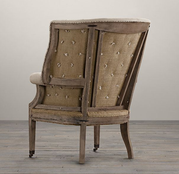 Deconstructed 19th C. English Wing Chair Belgian Linen Sand