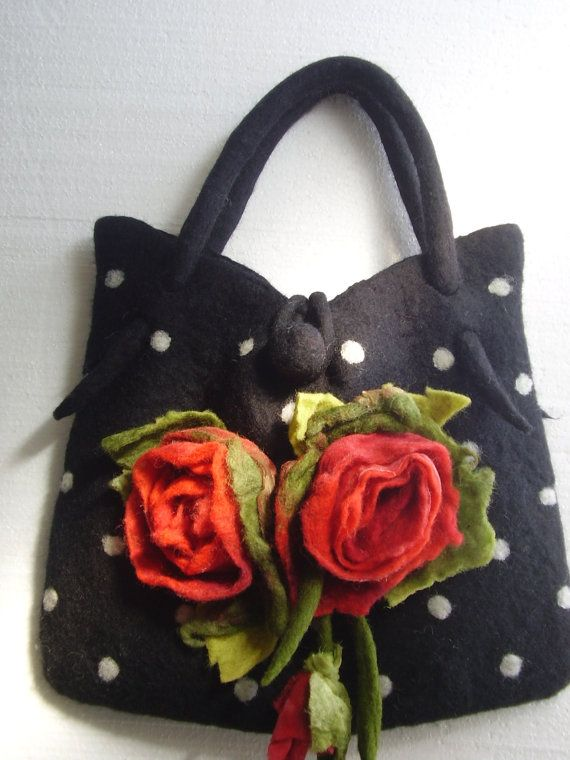 Romantic Polka Dot Wool Felted Bag with Red Rose Flowers Bouquet OOAK